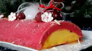 buche de Noel glacée framboise-mangue